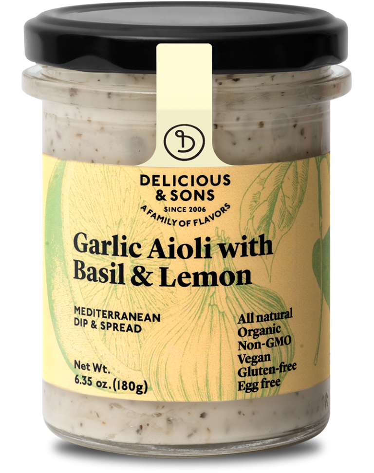 Organic garlic aioli with basil & lemon — Delicious & Sons