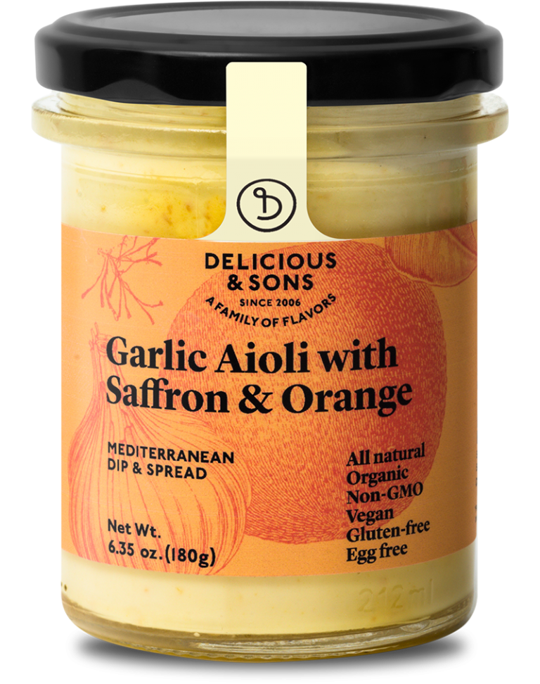 Organic garlic aioli with saffron & orange — Delicious & Sons