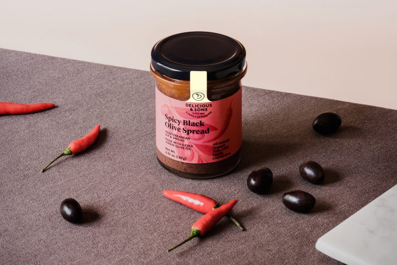 organic spicy black olive spread by delicious & sons