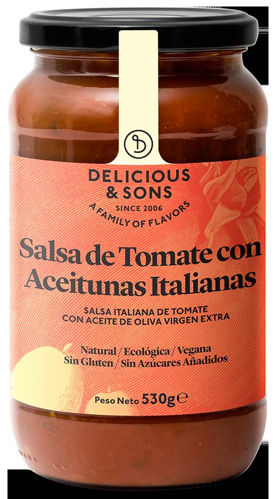 Salsa de Tomate con Aceitunas Italianas ecológica — Delicious & Sons