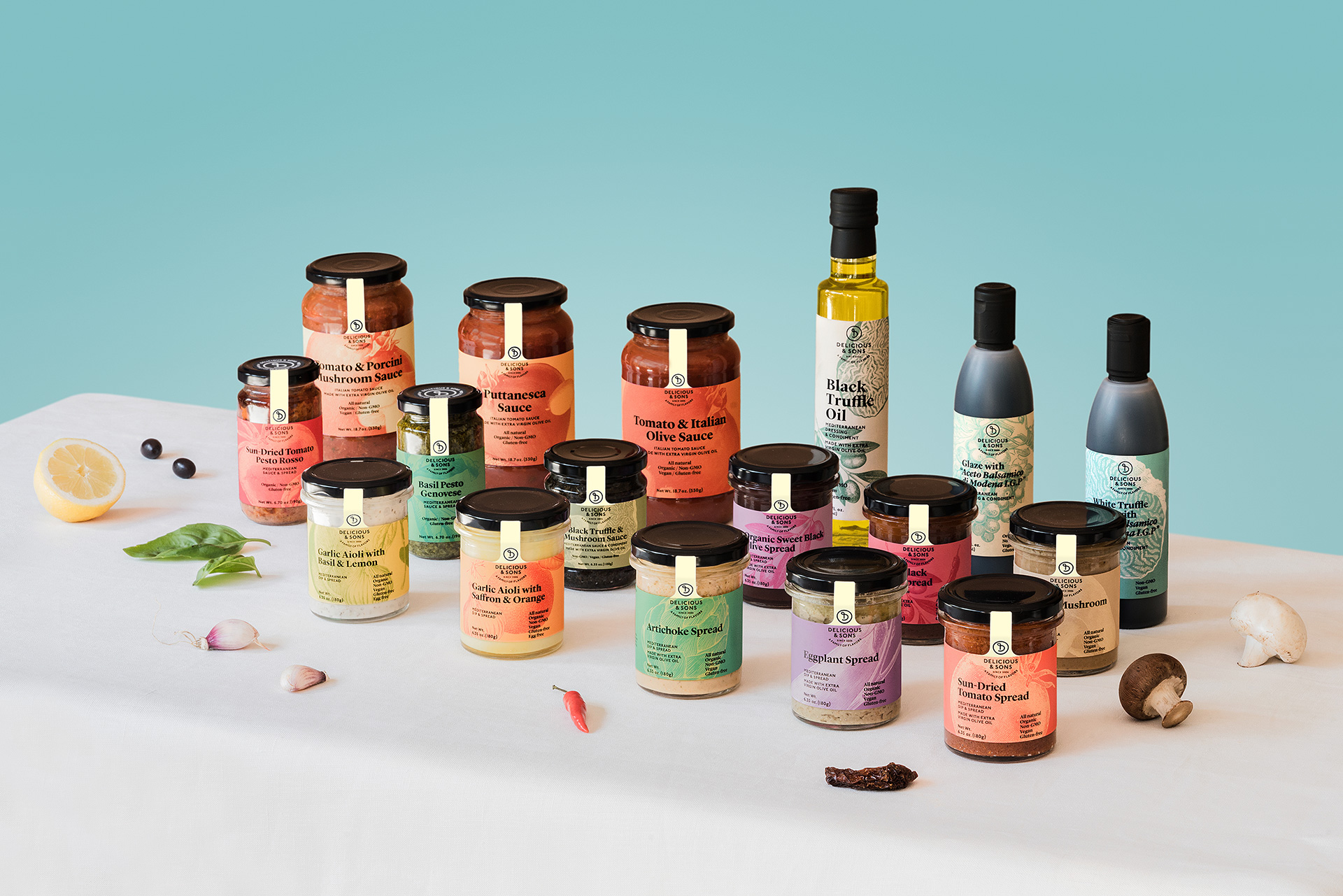 mediterranean sauces, spreads and oil by delicious & sons