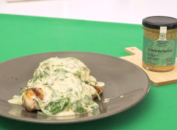 imagen receta pollo salsa espinacas de delicious & sons