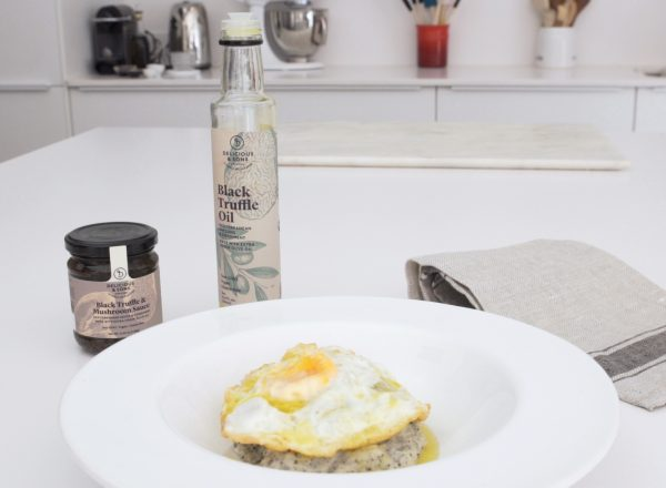 egg with potatoes and truffle recipe image by delicious & sons