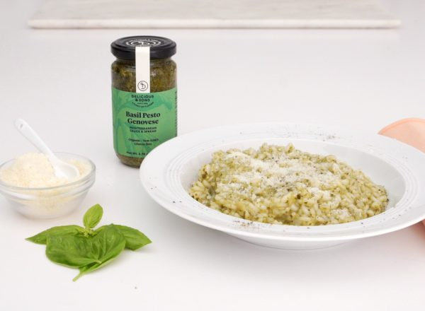 pesto risotto recipe image by delicious and sons