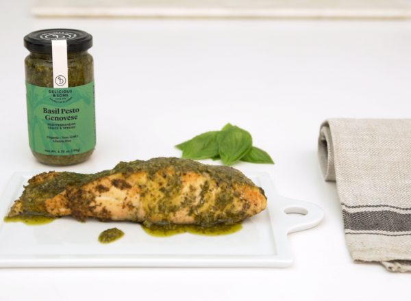 salmon pesto recipe image by delicious & sons