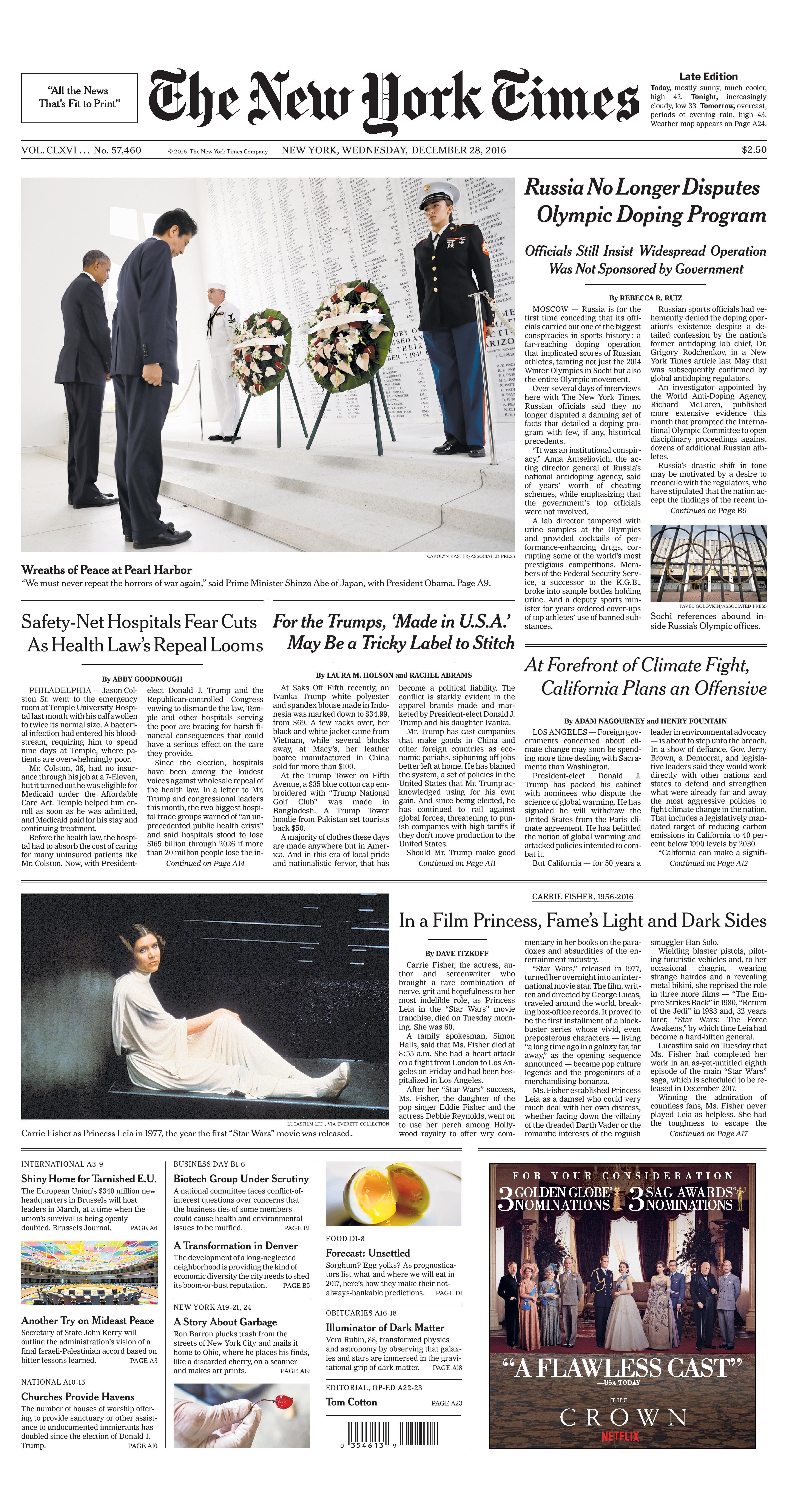 The New York Times Front Page