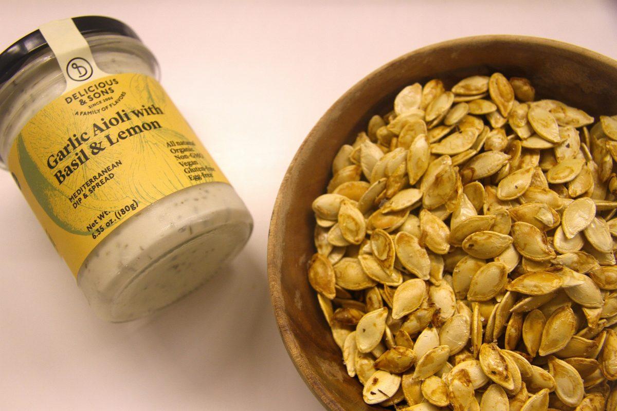Roasted Pumpkin Seeds for Halloween with Organic Aioli with Basil and Lemon — Delicious & Sons