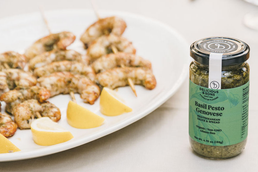 Shrimp Skewers with Basil Pesto Genovese — Delicious & Sons