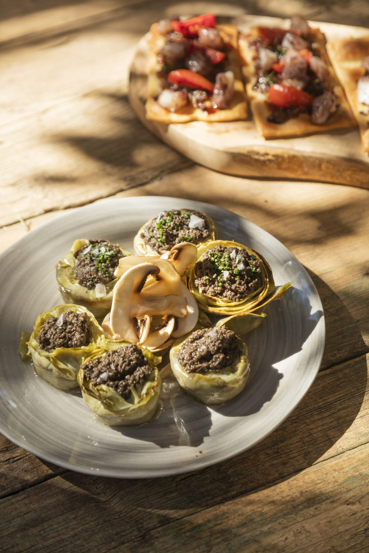 Poached Artichoke Hearts Stuffed with Black Truffle & Mushroom Sauce — Delicious & Sons