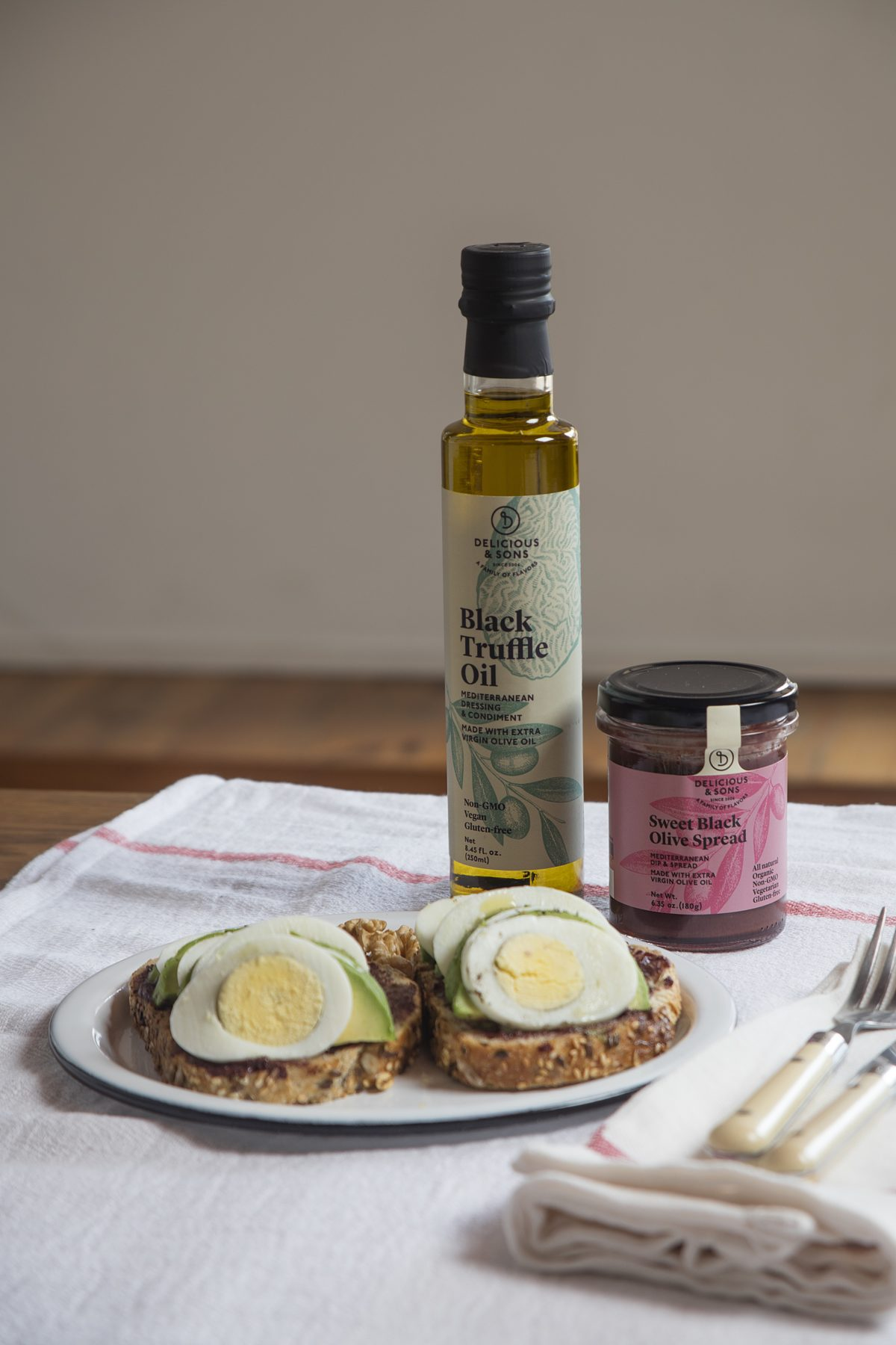 Avocado Toast with Hard Boiled Egg, Sweet Black Olive Spread, and Black Truffle Oil by Dorotea — Delicious & Sons