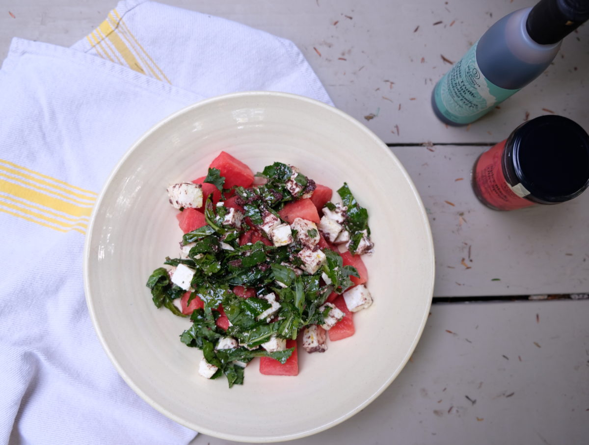Watermelon and Feta Salad with Spicy Black Olive Dressing — Delicious & Sons
