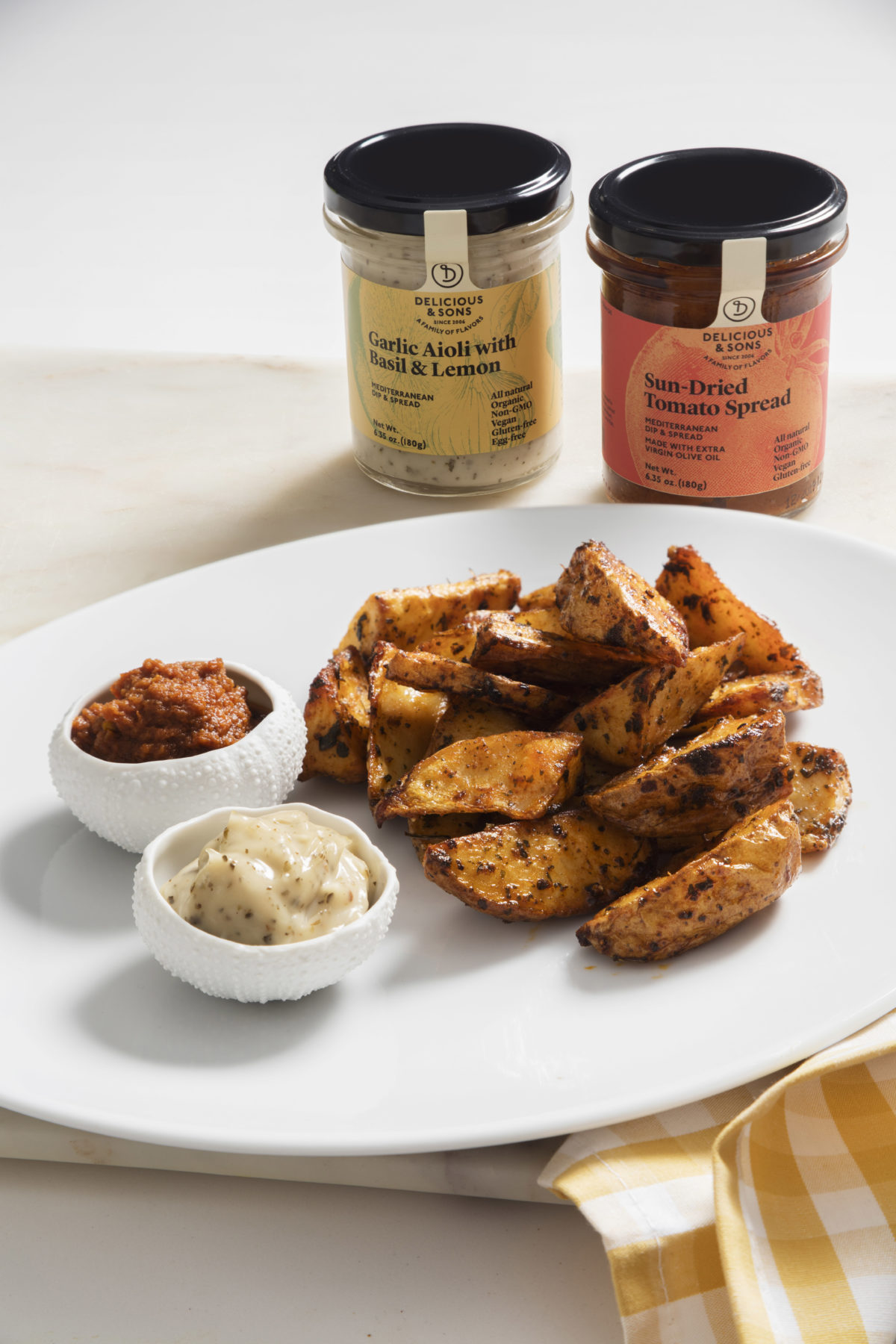 Patatas Bravas with Basil & Lemon Aioli and Sun-Dried Tomato Spread by Míriam Fabà — Delicious & Sons