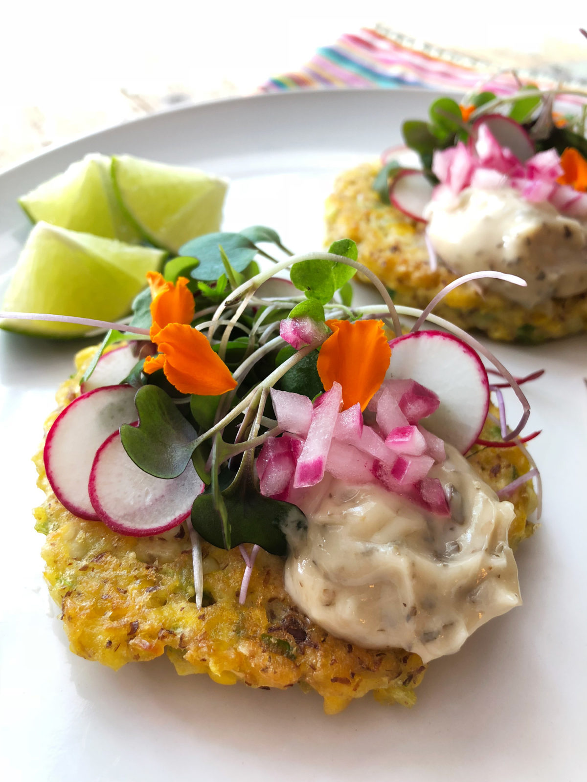 Corn Fritters with Basil & Lemon Aioli by Marisa Ford — Delicious & Sons