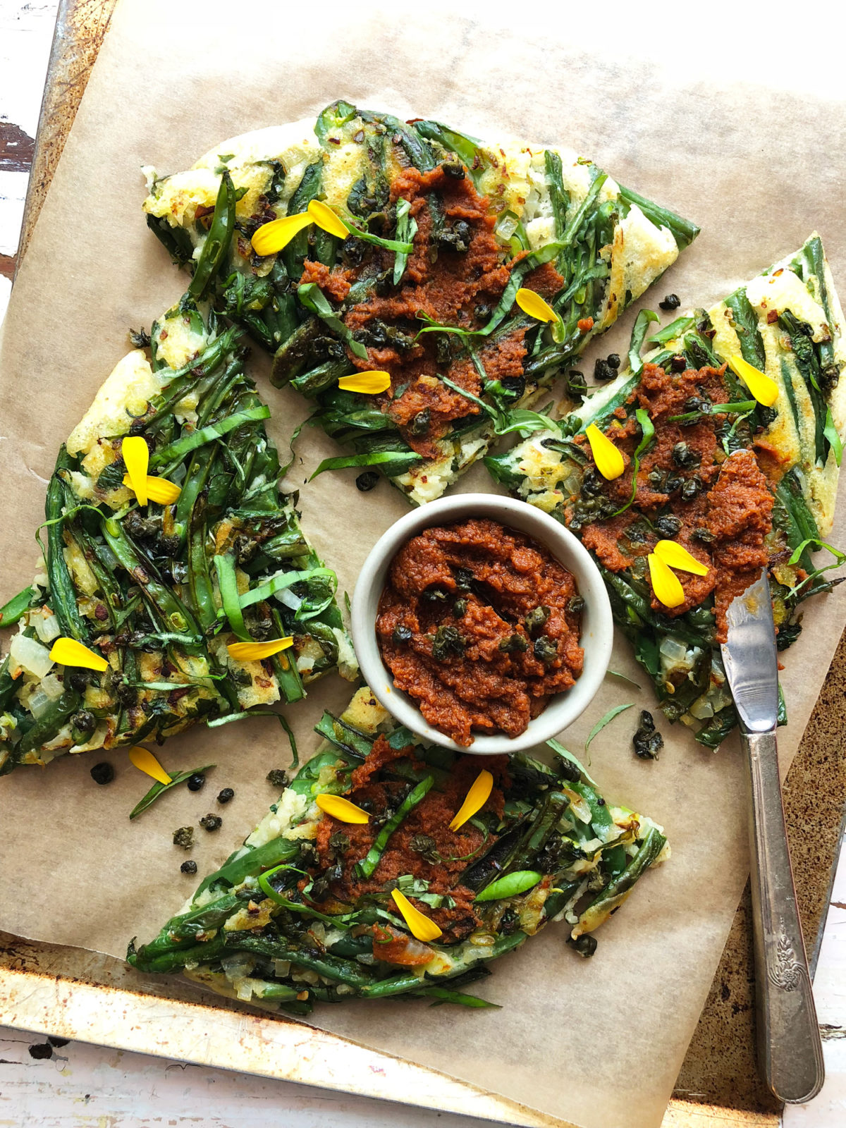 Green Bean and Basil Pancake with Sun-Dried Tomato Spread by Marisa Ford — Delicious & Sons