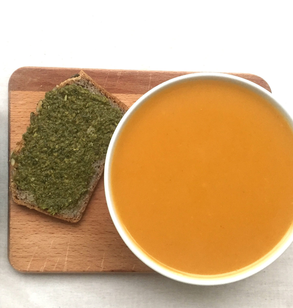 Pumpkin soup with Basil Pesto toast by Ricky Mandle — Delicious & Sons