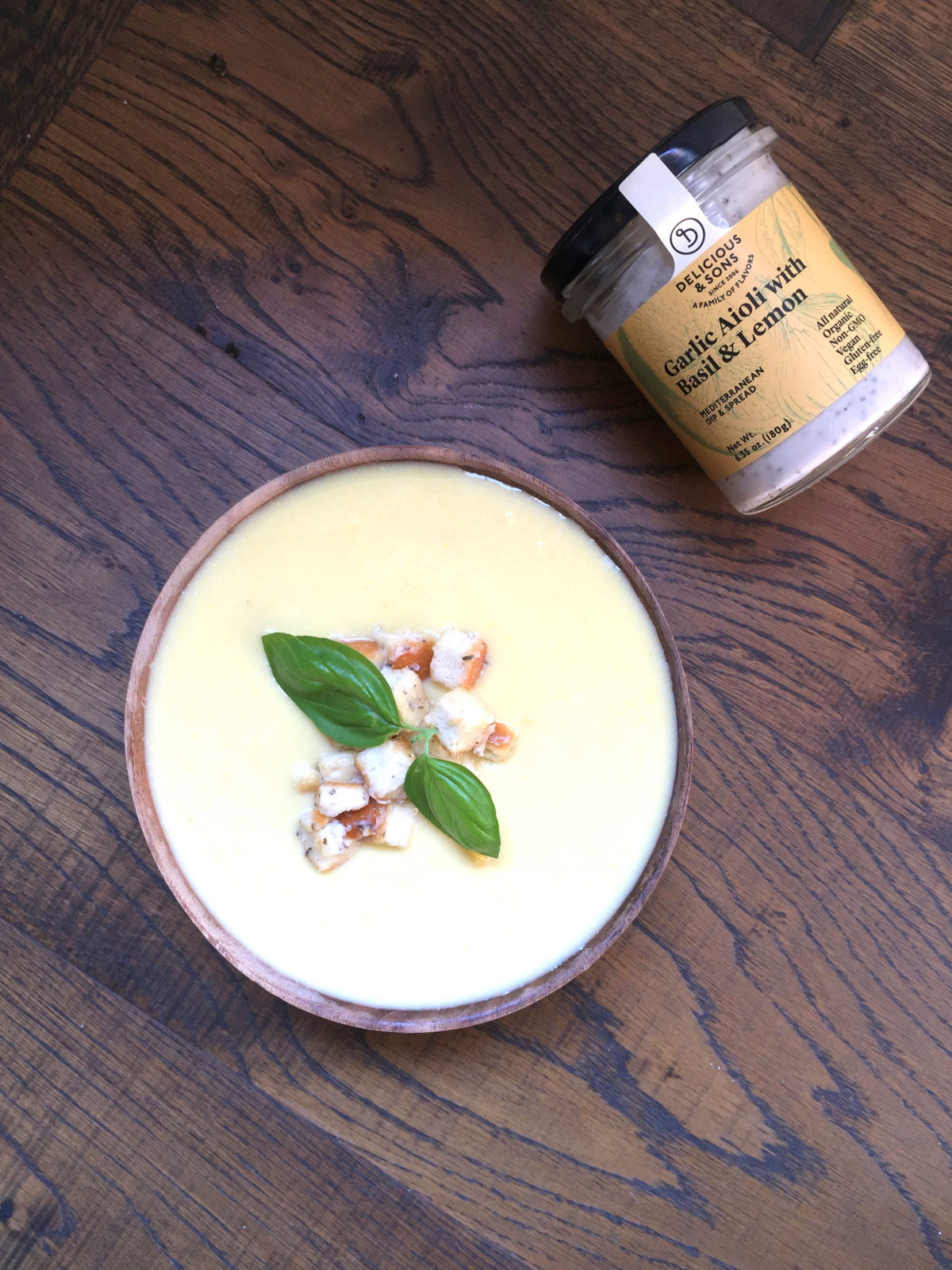 Corn chowder with Aioli croutons by Ricky Mandle — Delicious & Sons