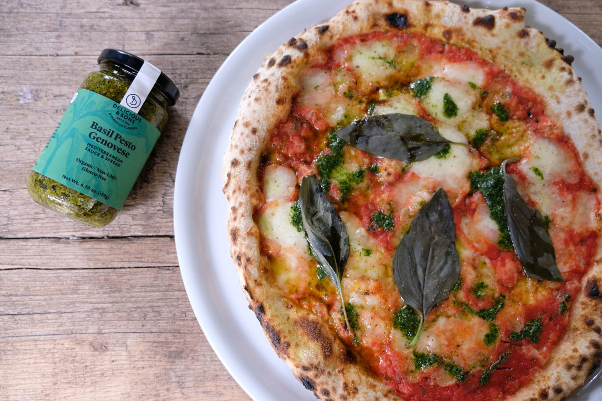 Pizza Margherita with Basil Pesto Genovese by Ricky Mandle — Delicious & Sons