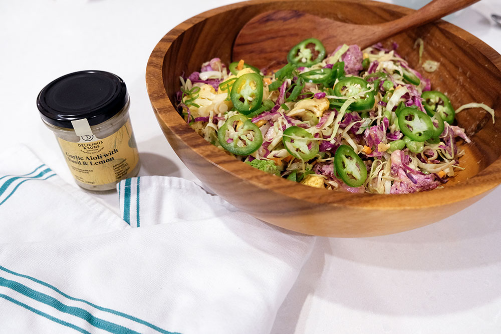 Colorful Vegetable Salad with Spicy Peanut Aioli Dressing by Courtney Zofness — Delicious & Sons