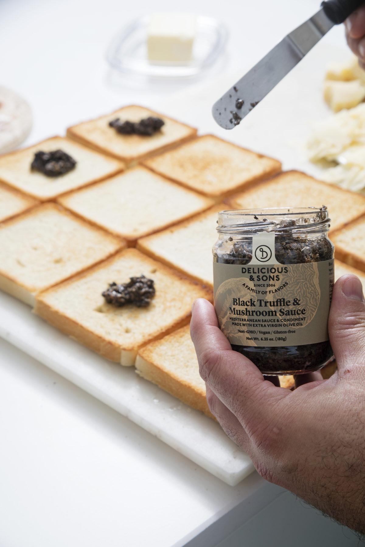 Grilled Iberic Ham & Cheese Sandwich with Parmesan and Black Truffle & Mushroom Sauce by Dani Guerrero — Delicious & Sons