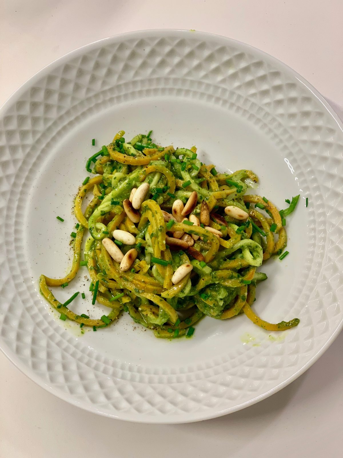 Sweet Potato & Zucchini Zoodles with Basil Pesto by Ricky Mandle — Delicious & Sons