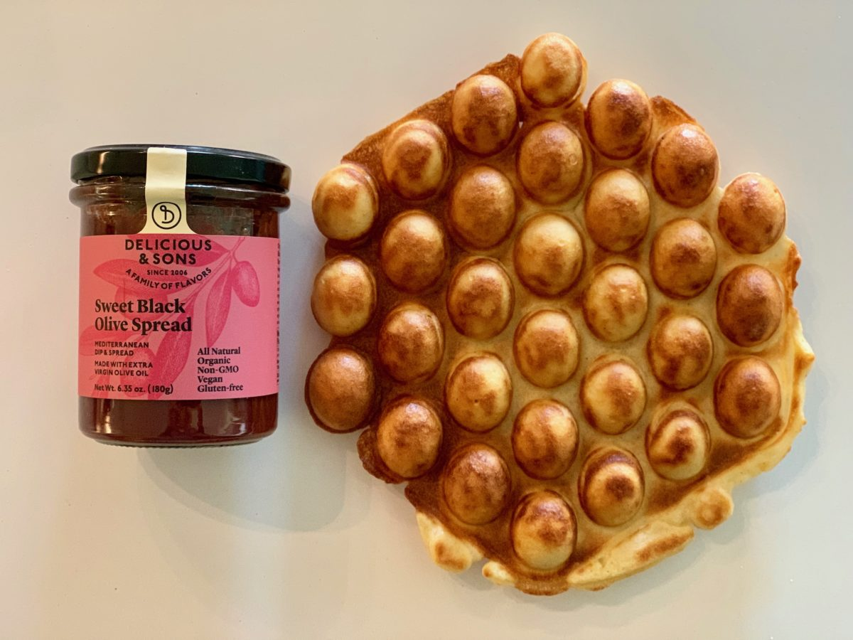 Gluten-Free Bubble Waffle with Sweet Olive Tapenade — Delicious & Sons