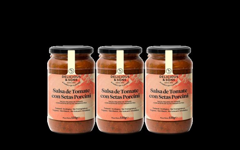 Salsa de Tomate con Setas Porcini Ecológica (Pack de 3) — Delicious & Sons