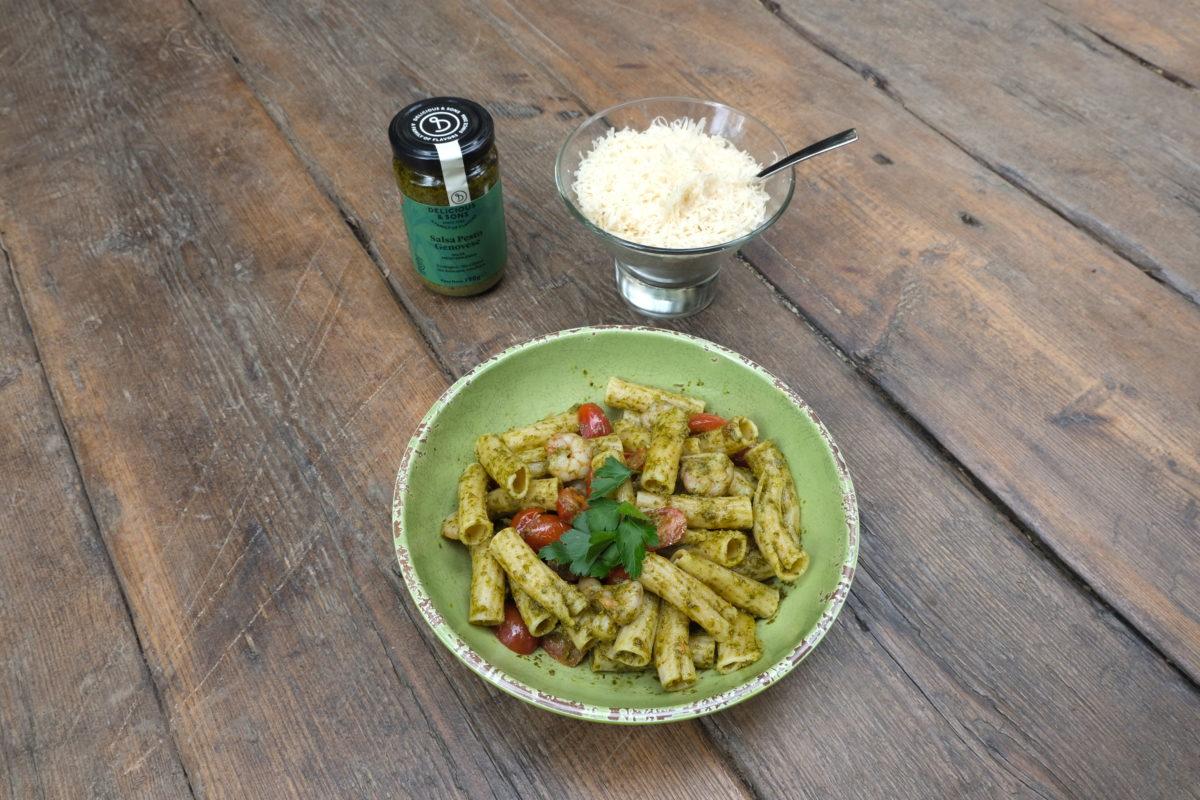 Pesto Pasta with Shrimp — Delicious & Sons